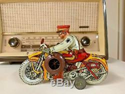 Vintage Marx 1940s Tin Windup Rookie Cop Motorcycle