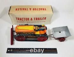 Vintage Marx 1950s Climbing Tractor And Trailer Wind Up Tin Toy Original Box