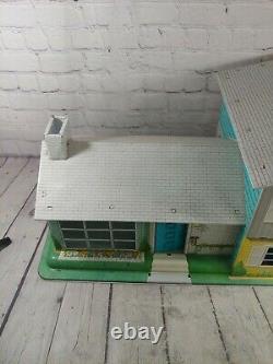 Vintage Marx 1960's 124 Tin Split Level Dollhouse & 50+ Pieces Furniture, Etc
