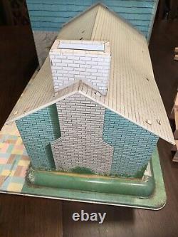 Vintage Marx 1960's 124 Tin Split Level Dollhouse & 60+ Pieces Furniture, Etc