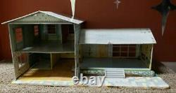 Vintage Marx 1960's 124 Tin Split Level Dollhouse Pool & Misc. MCM Furniture