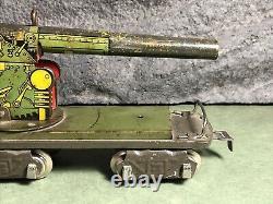 Vintage Marx Army Train Flat Car With Anti-Aircraft Gun 8 Wheel Version