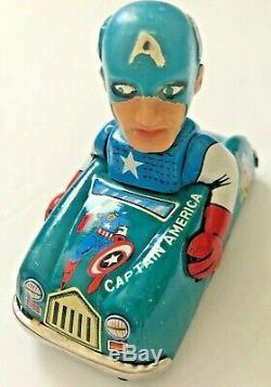 Vintage Marx Captain America Tin Race Car Working Wind Up withThor Iron Man Hulk