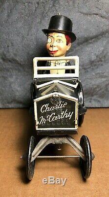 Vintage Marx Charlie McCarthy Wind-Up Tin Toy Bump N' Go Crazy Car Works
