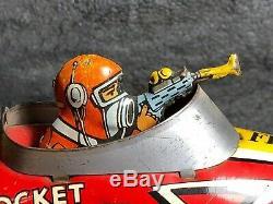 Vintage Marx Flash Gordon Rocket Fighter Wind-Up Tin Toy Very good