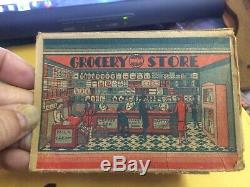 Vintage Marx Home Town Grocery Store Tin Litho Playset 1920 With part of box