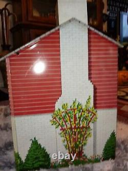 Vintage Marx Large Pressed Tin Litho Red Colonial Dollhouse and 1950 Furniture