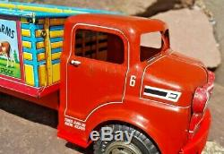 Vintage Marx Lazy Day Farms Tin Pressed Steel Toy Dairy Truck