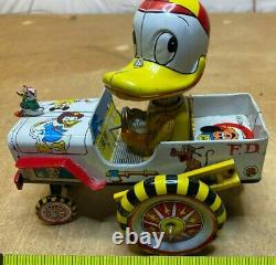 Vintage Marx Linemar Donald Duck Wind Up Fire Dept Tin Litho Toy Very Nice