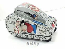 Vintage Marx Linemar Toys Wind-up Tin Popeye Turnover Tank Perfect Working Cond