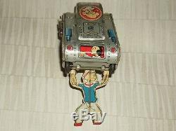 Vintage Marx Linemar Toys Wind-up Tin Popeye Turnover Tank Working Cond