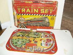 Vintage Marx Mechanical Miniature train set tin litho board and box