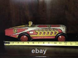 Vintage Marx Mechanical Racer 1940s Tin Litho Windup #3 Race Car Orig. Working