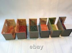 Vintage Marx Newlywed Tin Dollhouse Toy Rooms Set Of 6 With Furniture