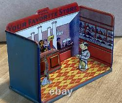 Vintage Marx Newlyweds Miniature Candy Store Room Box Tin Lithograph Toy Set