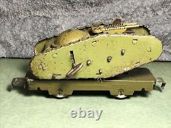 Vintage Marx O Gauge Tin Army Supply Train Flat Car With Wind Up Tank