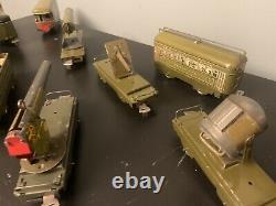 Vintage Marx O Tin Toy Army Supply Train Set 897 Locomotive 500 Ammo Cannon Car