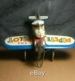 Vintage Marx Popeye The Pilot 1940s 7 Tin Windup Toy Plane Motor works