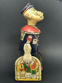 Vintage Marx Popeye Wind-Up with Bird Cages, Tin Litho