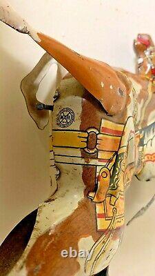 Vintage Marx Range Rider Wind-up Tin Toy With Lasso