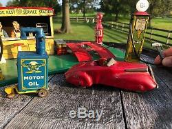 Vintage Marx Roadside Rest Service Station Gas Oil 1930s L@@K
