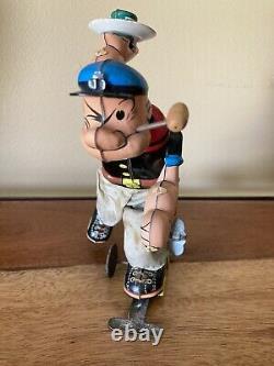 Vintage Marx Roller Skate Popeye Wind-up Tin Toy