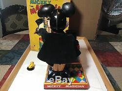 Vintage Marx Tin Battery Operated Mickey The Magician Toy 1960s Japan