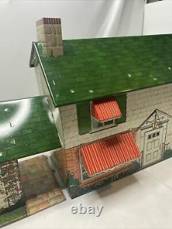 Vintage Marx Tin Doll House Breezeway and Game Room with 50 Furniture pieces