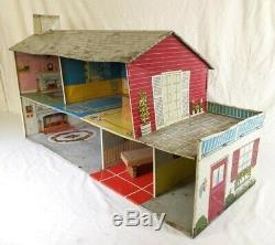 Vintage Marx Tin Dollhouse 2 Story