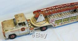 Vintage Marx Tin Hook & Ladder Fire Truck No 9 HTF White 25 complete working