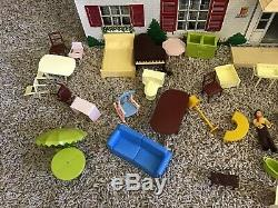 Vintage Marx Tin Litho 2 Story Dollhouse House with Sunroom Furniture Very Good