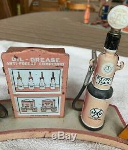 Vintage Marx Tin Litho Gas Station Island