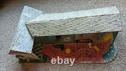 Vintage Marx Tin Litho Metal Doll House Suburban Ranch House Mid Century 1950s