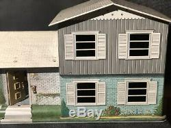 Vintage Marx Tin Litho Metal Doll House Working Door Stairs Awning Doorbell