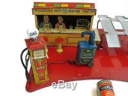 Vintage Marx Tin Litho Roadside Rest Service Gas Filling Station With Box 1930s