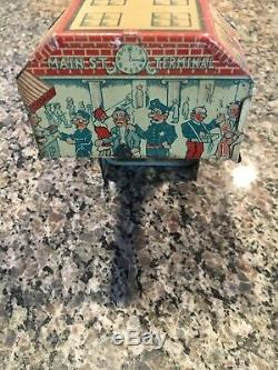 Vintage Marx Tin Litho Wind Up Busy Bridge Main St. Terminal Works VG Must L@@K