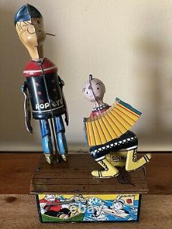 Vintage Marx Tin Litho Wind Up Popeye And Olive Oyl Jiggers Toy