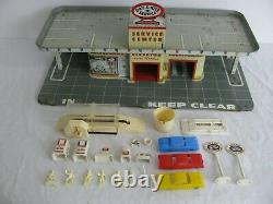 Vintage Marx Tin Lithograph Service Gas Station with Elevator & Car Wash #3474 EX