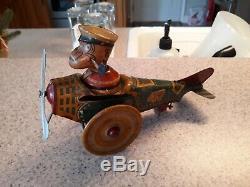 Vintage Marx Tin Popeye The Pilot Windup Airplane Original Antique