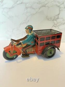 Vintage Marx Tin Speed Boy Delivery Motorcycle Cart Wind-Up Toy Red Truck