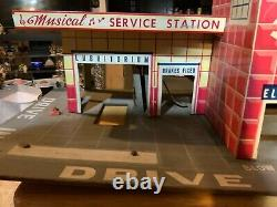 Vintage Marx Tin Toys Happi Time Musical Service Station 2 Levels With Elevator