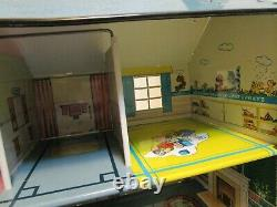 Vintage Marx Tin Two Story Doll House With Patio Awning & Accessories