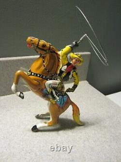 Vintage Marx Tin Wind-Up Cowboy Rider-Twirling Lasso-1930's-Works