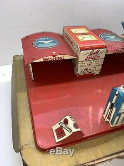 Vintage Marx Toy Service Station Tin Litho 1940s/50s IOB Electric Gas Globes VG