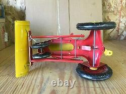 Vintage Marx Tractor With Plow & Driver Tin Litho Graphics Very Nice Condition