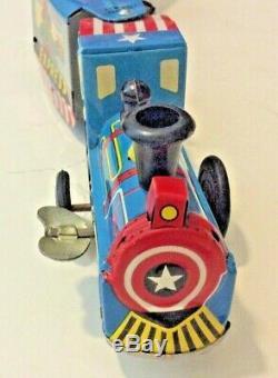 Vintage Marx Train Super Hero Express Wind Up Locomotive-America-Goblin-Spider
