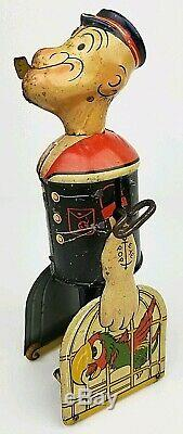 Vintage Marx Walking Popeye Carrying Parrots Tin Litho Wind Up Toy Not Working