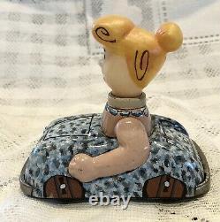 Vintage Marx Wilma Flintstone in Car Tin Toy Friction 1962 Japan