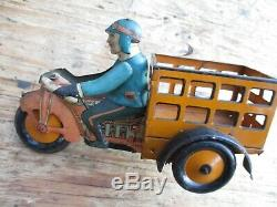 Vintage Marx Wind-up Motorcycle Speed Boy Delivery