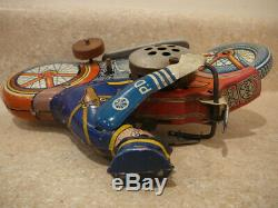 Vintage Marx Wind-up Tin Litho Toy Motorcycle Cop Siren Policeman